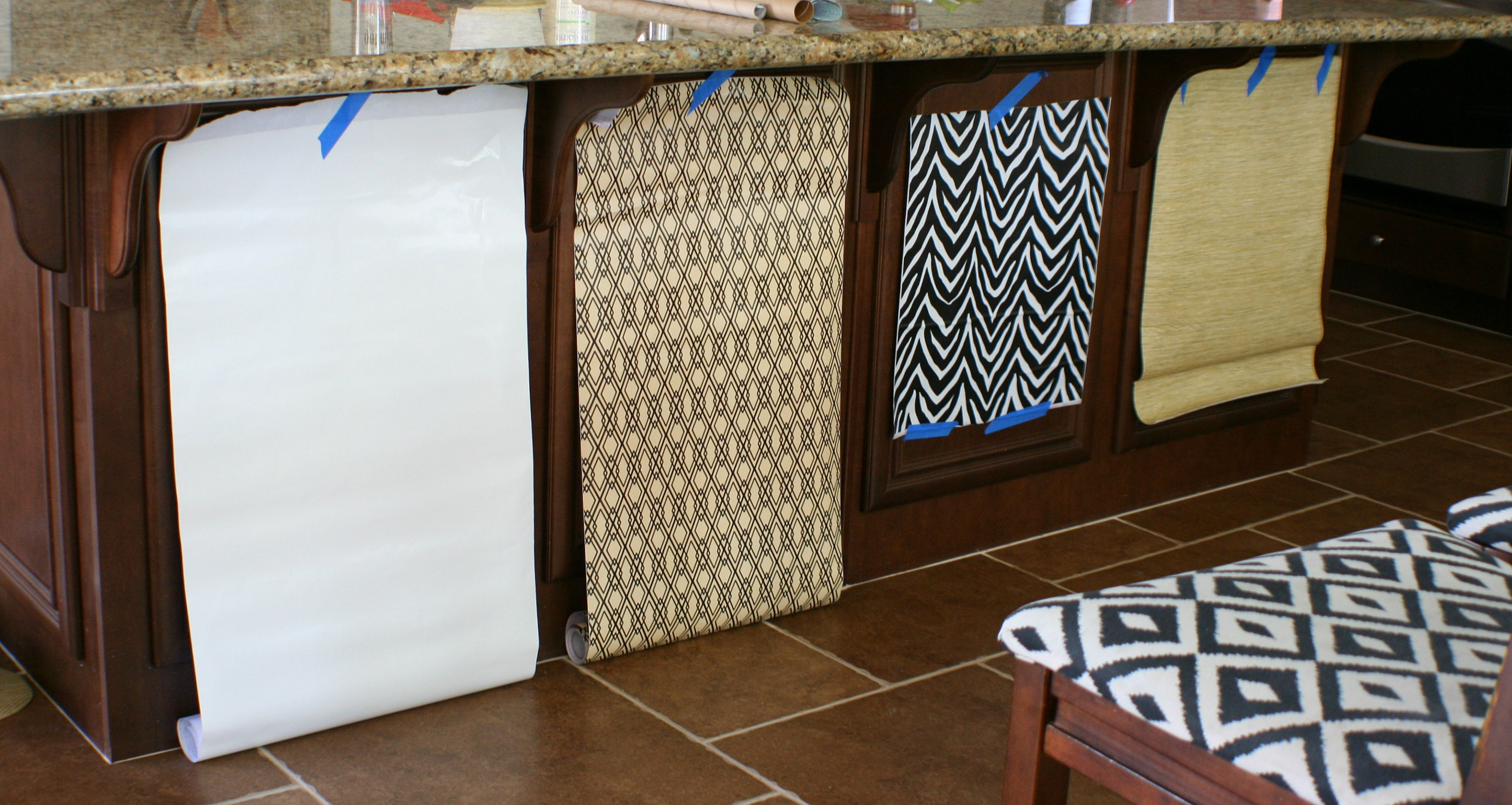 Using contact paper on our kitchen island amy krist for Vinyl paper for kitchen cabinets