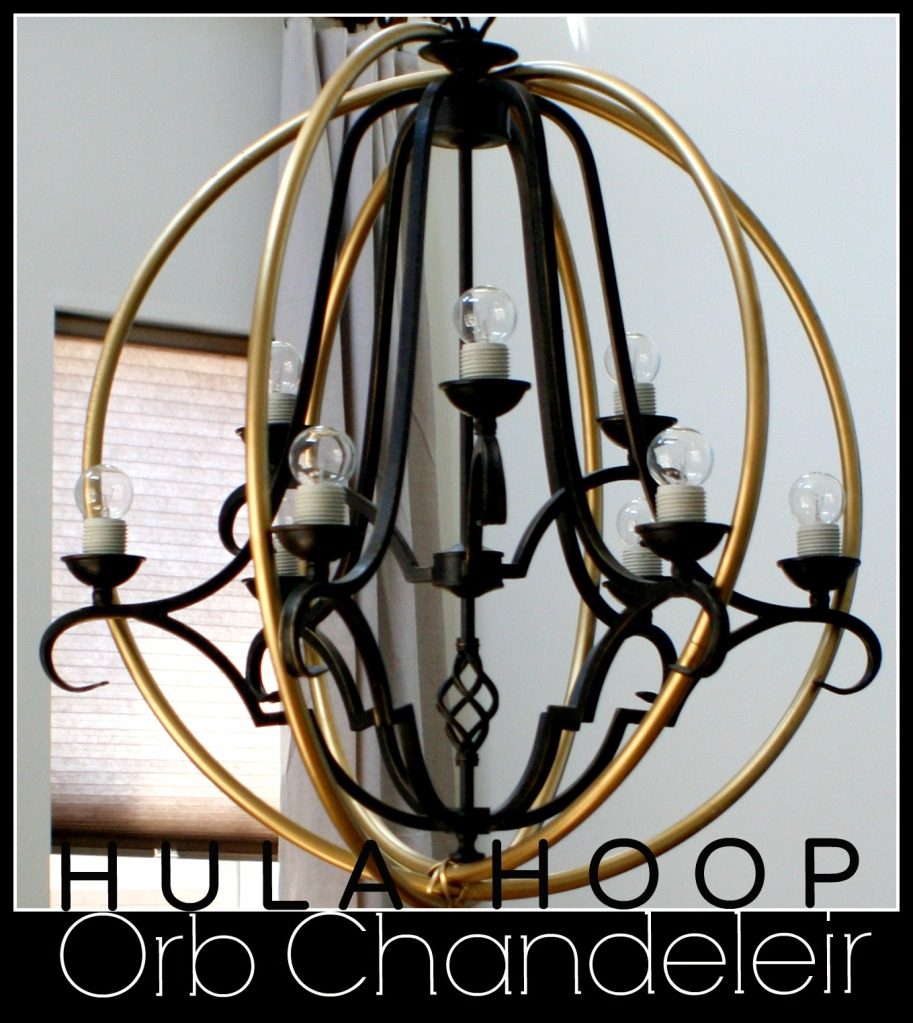 Chandelier wrap made from hula hoops for Ikea orb light