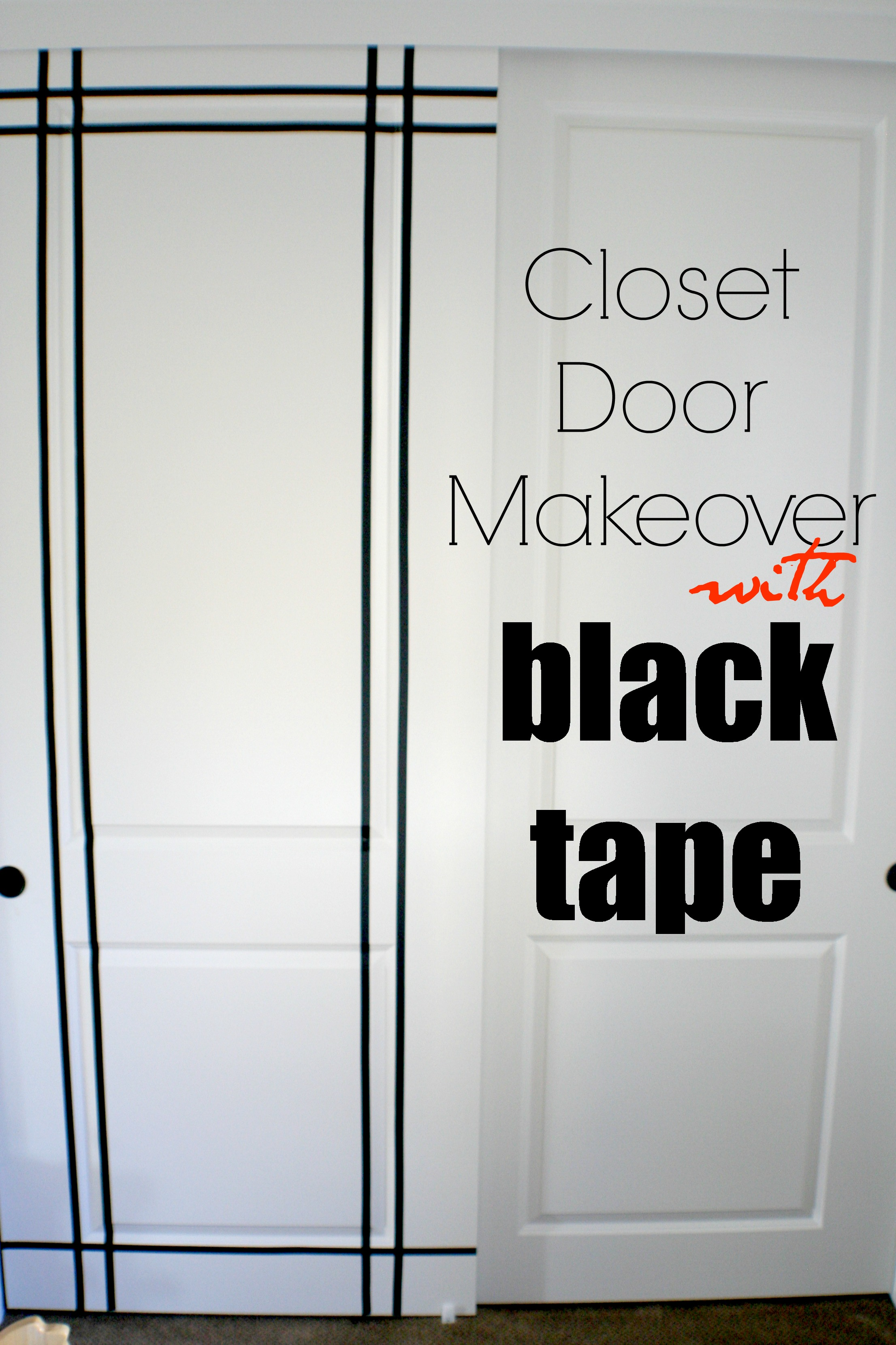 Closet Door Makeover Using Electrical Tape